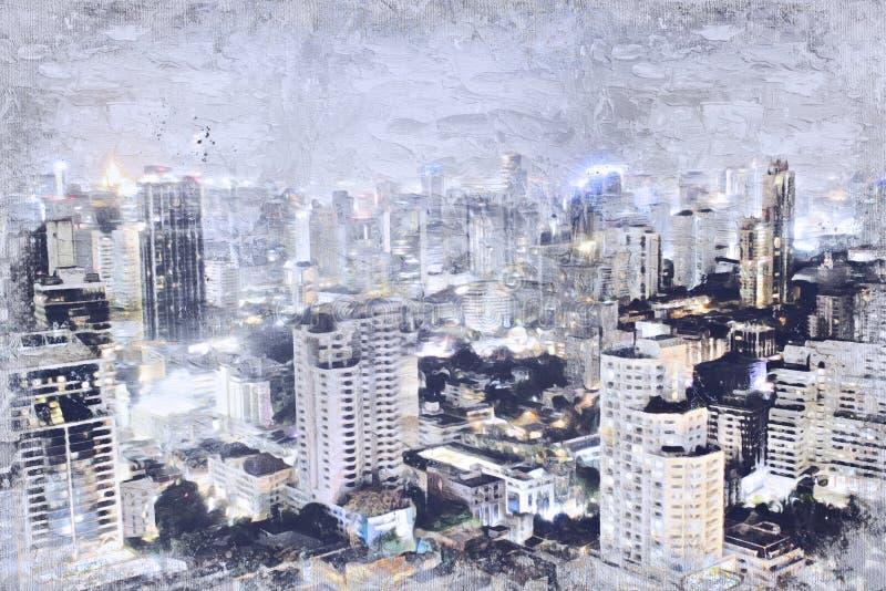 Construção de escritórios abstrata na cidade no fundo da pintura da aquarela foto de stock