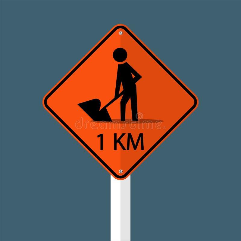 construção de estradas adiante 1km do símbolo sinal isolado no fundo cinzento do céu Ilustração do vetor ilustração stock