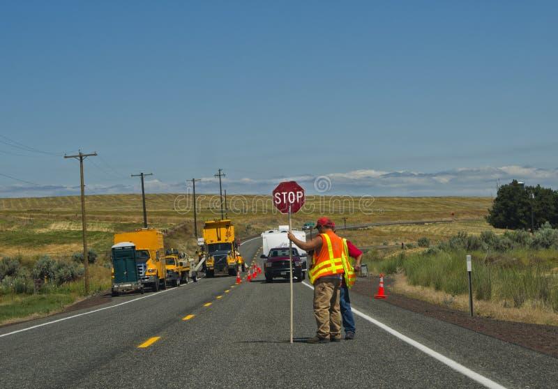 Construção de estradas, estado de Washington foto de stock