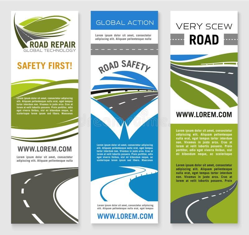 Construção de estradas, reparo, molde da bandeira da segurança ilustração stock
