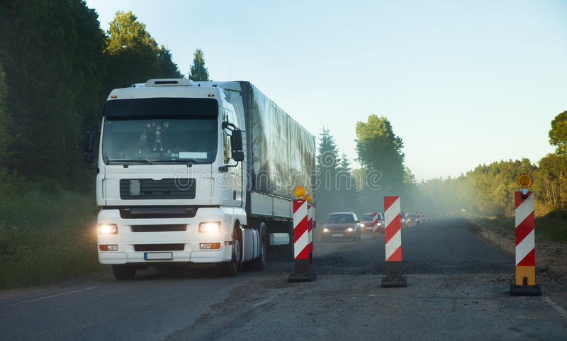 Construção de estradas, tráfego foto de stock