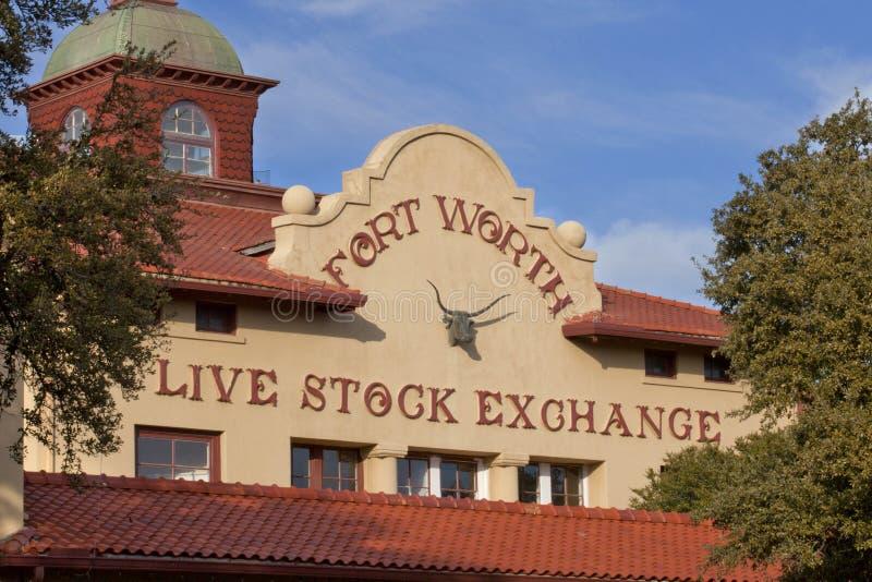 Construção de Fort Worth Live Stock Exchange fotos de stock