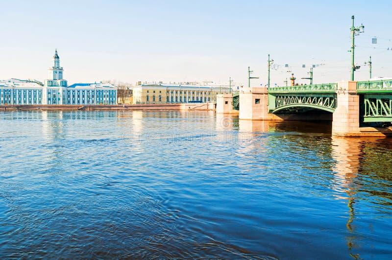 Construção de Kunstkamera, museu zoológico e ponte do palácio sobre o rio de Neva em St Petersburg, Rússia - panorama da cidade fotografia de stock