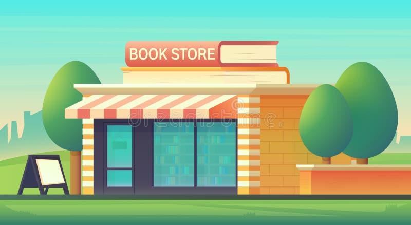 Construção de loja das livrarias na arquitetura da cidade com os livros sob a forma dos sinais Construção de loja com uma montra  ilustração do vetor