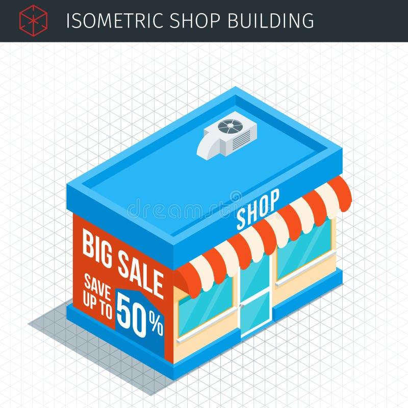 Construção de loja isométrica ilustração royalty free