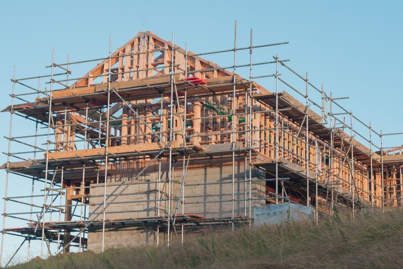 Construção de madeira da casa privada foto de stock
