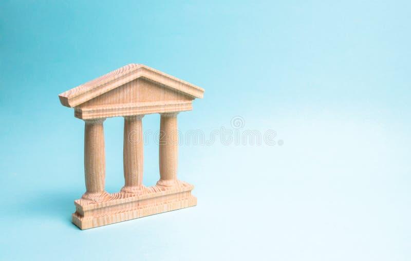 Construção de madeira do monumento ou do governo Representação de Minimalistic de um statebuilding, de um tribunal ou de um monum imagens de stock royalty free