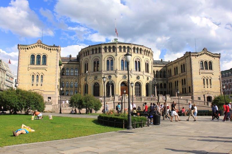Construção de Parlament em Oslo, Noruega. fotografia de stock