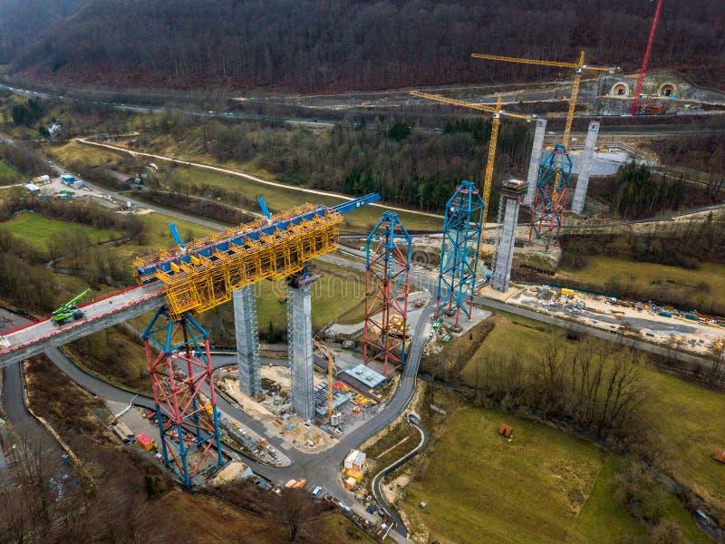 Construção de ponte nova da estrada de ferro - Estugarda 21, Aichelberg foto de stock