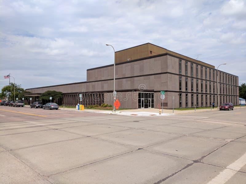 Construção de serviço postal dos E.U. em Sioux Falls do centro, SD fotografia de stock