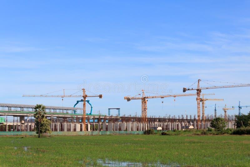 Construção de sistema do trem de céu. fotos de stock