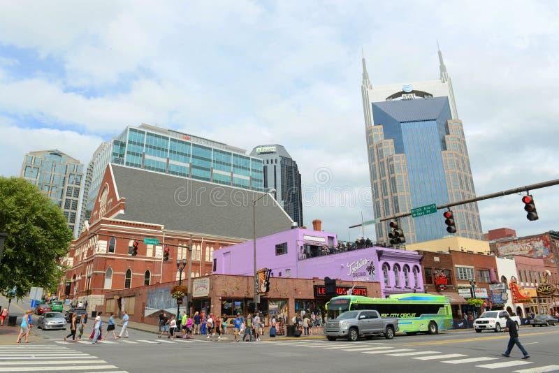 Construção de AT&T e Broadway, Nashville, Tennessee fotos de stock royalty free