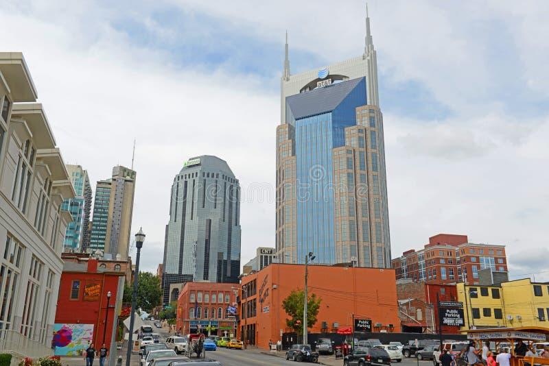 Construção de AT&T e Broadway, Nashville, TN, EUA fotos de stock royalty free