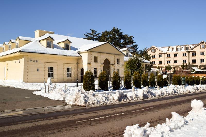 Construção de tijolo de dois andares, cerca, árvores da conversão, neve e estrada imagens de stock