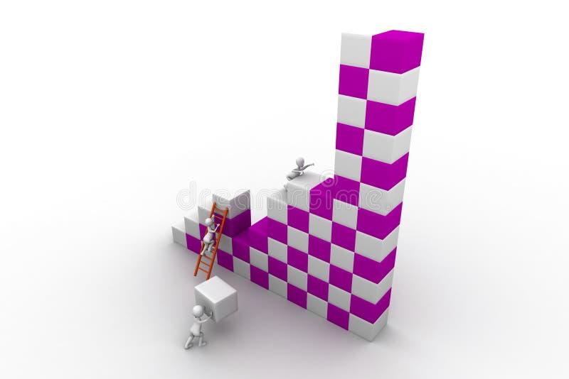 Construção de trabalho da equipe do negócio um bloco ilustração stock
