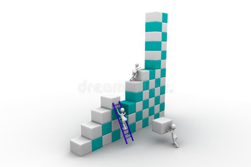Construção de trabalho da equipe do negócio um bloco ilustração royalty free