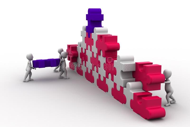 Construção de trabalho da equipe do negócio um enigma ilustração do vetor