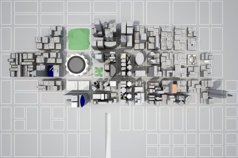 Construção de uma cidade nova de cima da vista ilustração do vetor