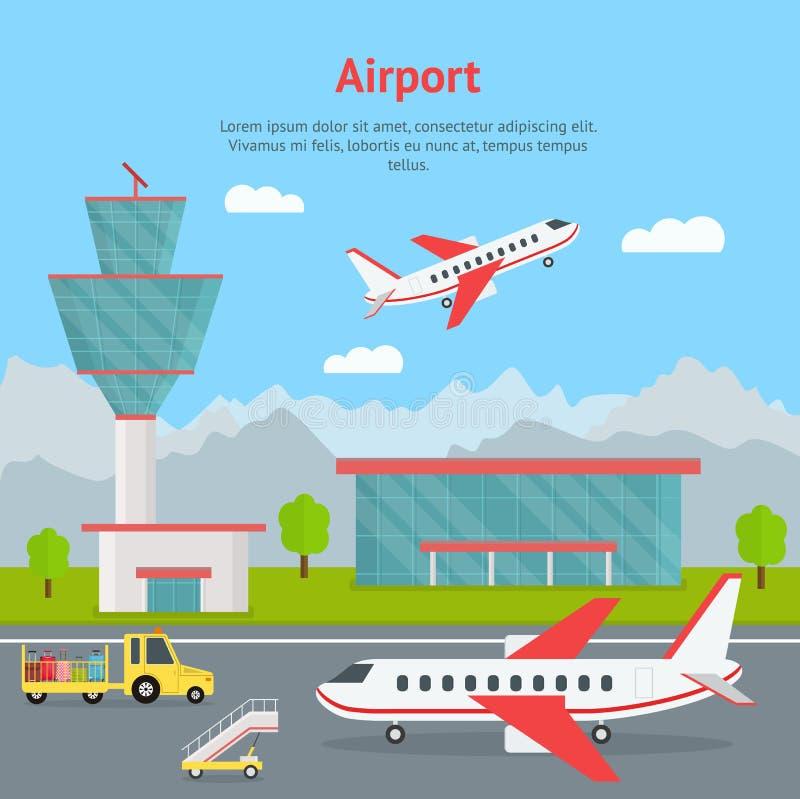 Construção do aeroporto dos desenhos animados e cartão do conceito dos aviões Vetor ilustração stock