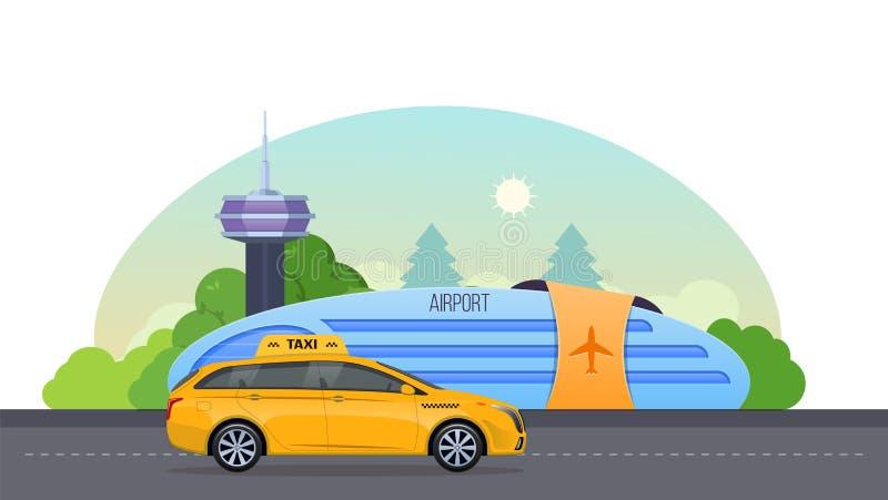 A construção do aeroporto, pista de decolagem para aviões, paisagem do aeroporto, presta serviços de manutenção ao táxi ilustração stock