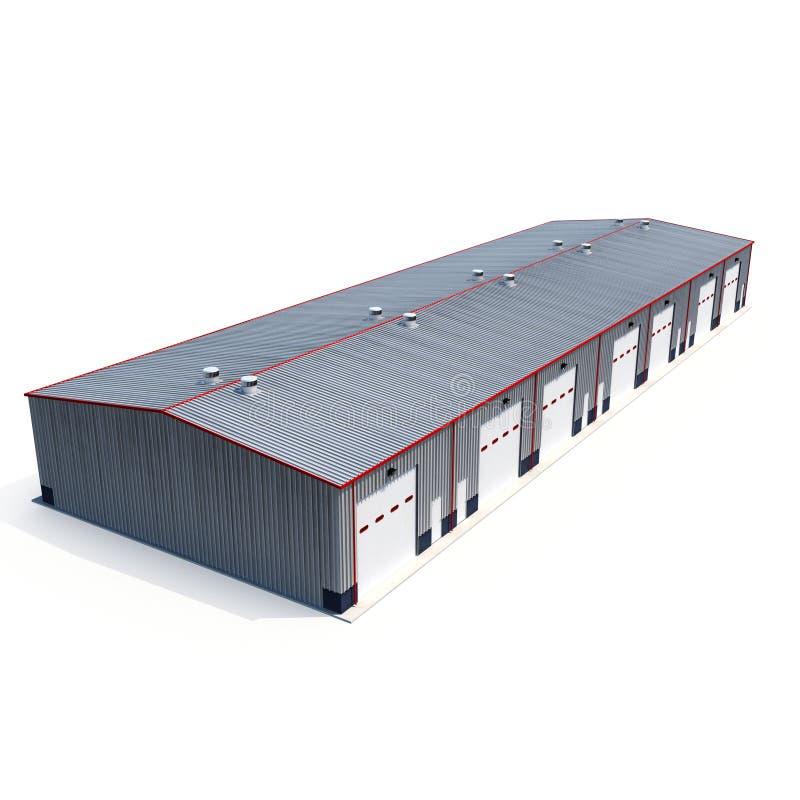 Construção do armazém do metal no branco ilustração 3D ilustração stock
