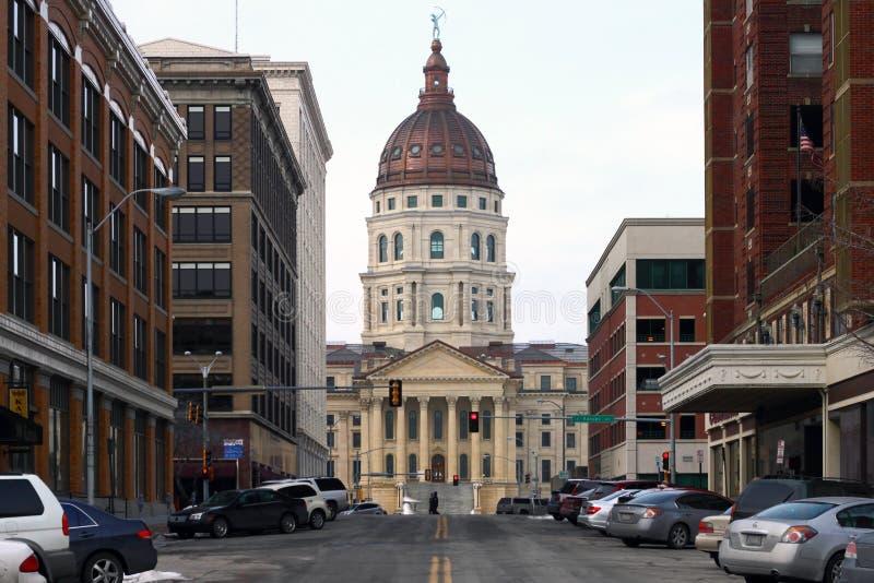 Construção do Capitólio do estado de Kansas foto de stock