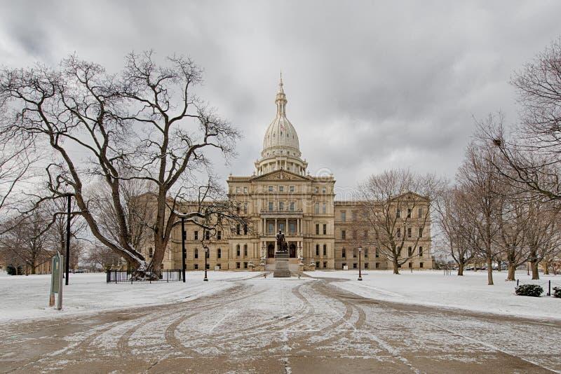 Construção do Capitólio do estado do Michigan fotos de stock