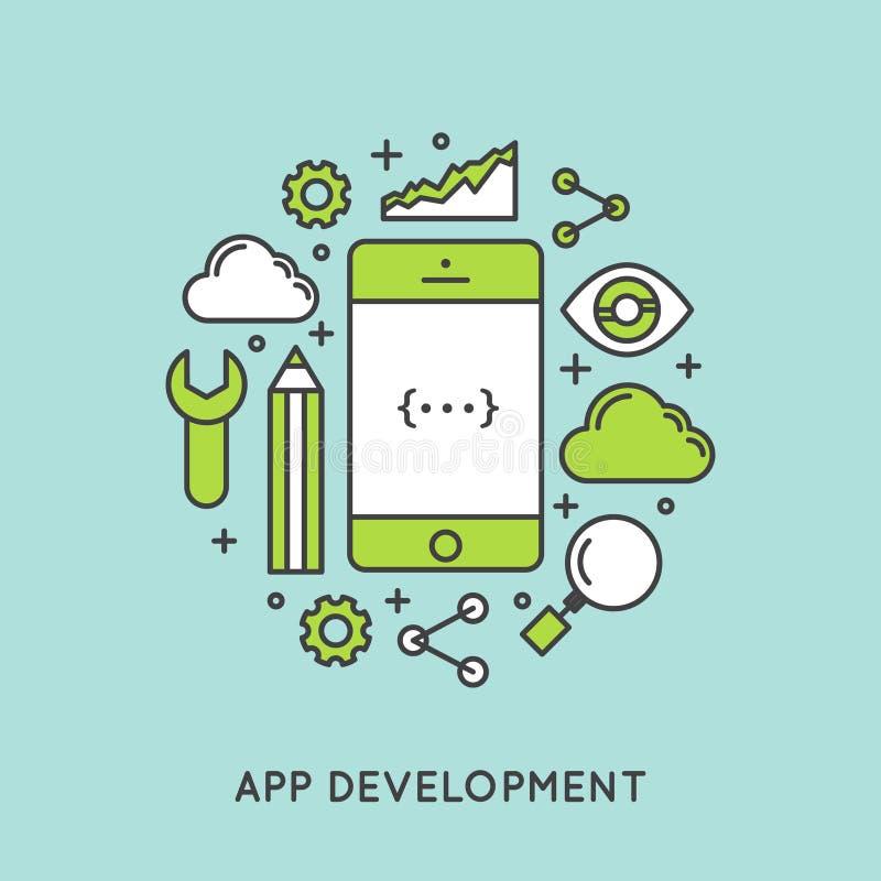 Construção do desenvolvimento e da aplicação do App ilustração stock