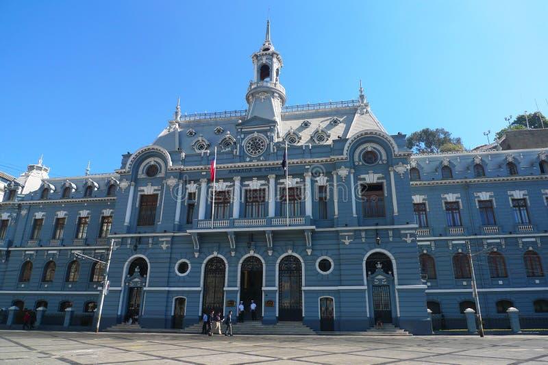 Construção do do Chile da armada na plaza Sotomayor em Valparaiso, o Chile fotografia de stock