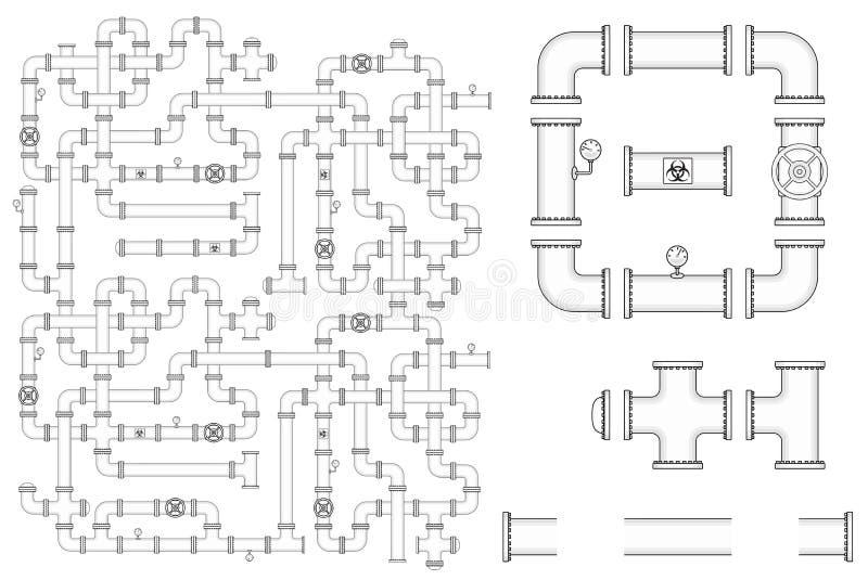Construção do encanamento O jogo do vetor inclui as peças da tubulação, tampões, valv ilustração royalty free