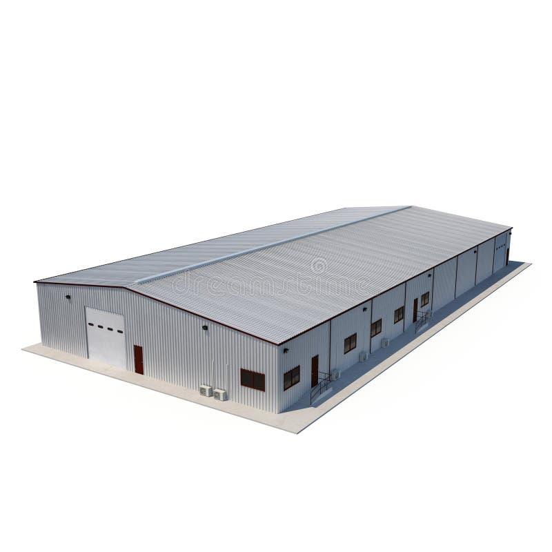 Construção do escritório e do armazém de armazenamento no branco ilustração 3D ilustração royalty free