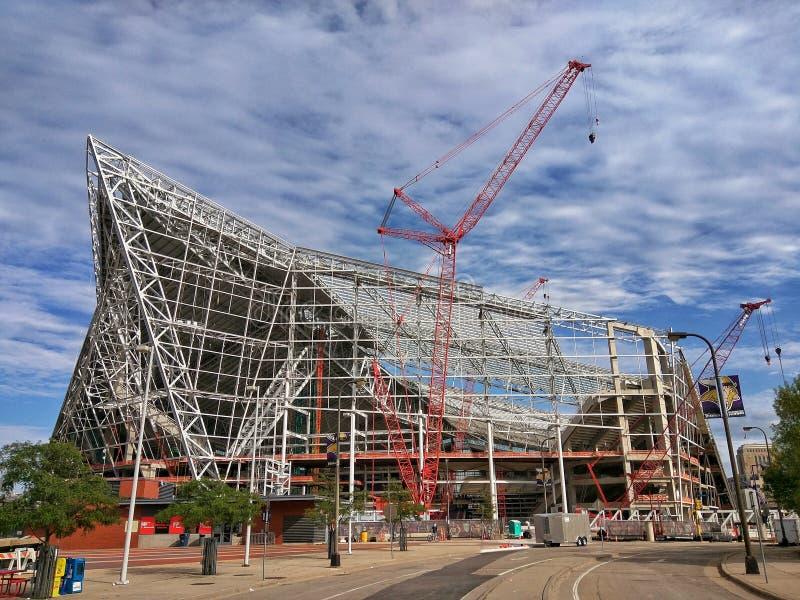 Construção do estádio de futebol em Minneapolis foto de stock royalty free