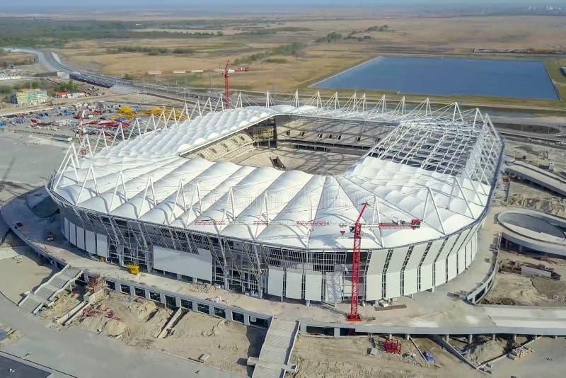 Construção do estádio Estádio novo, facilidade de esportes imagens de stock