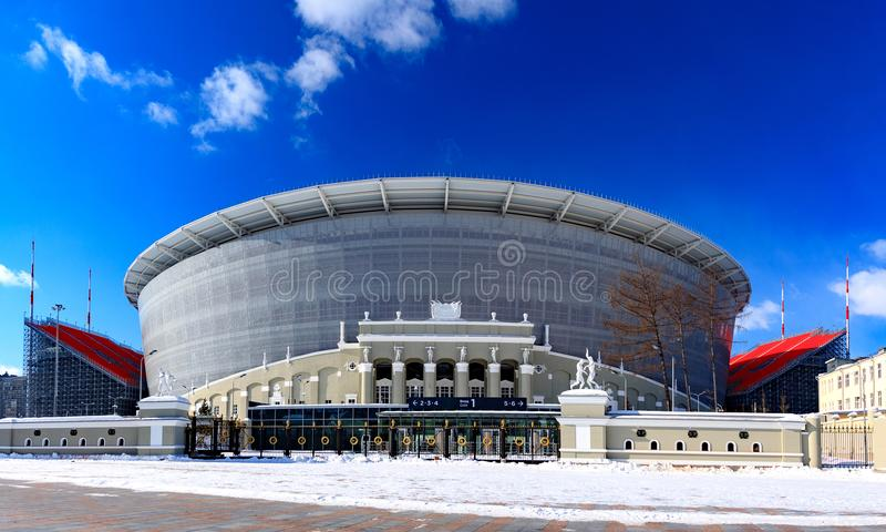 A construção do estádio novo para o campeonato mundial 2018 fotografia de stock