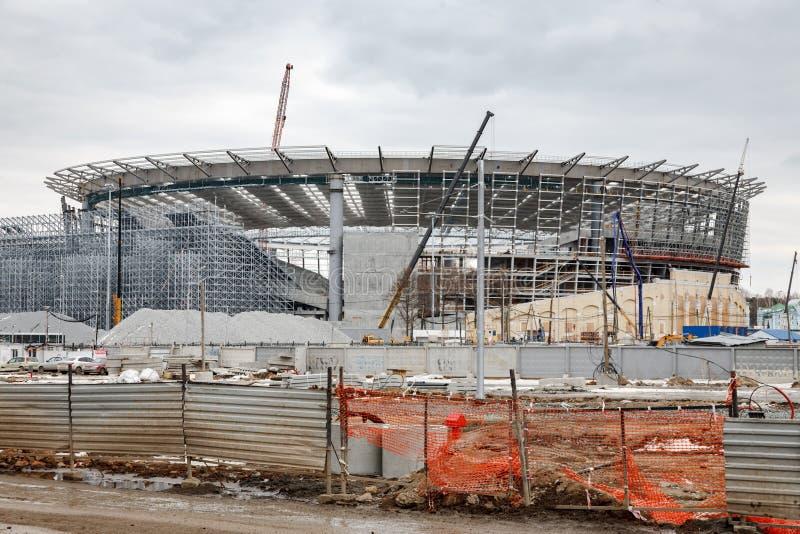 A construção do estádio para o campeonato do mundo fotos de stock