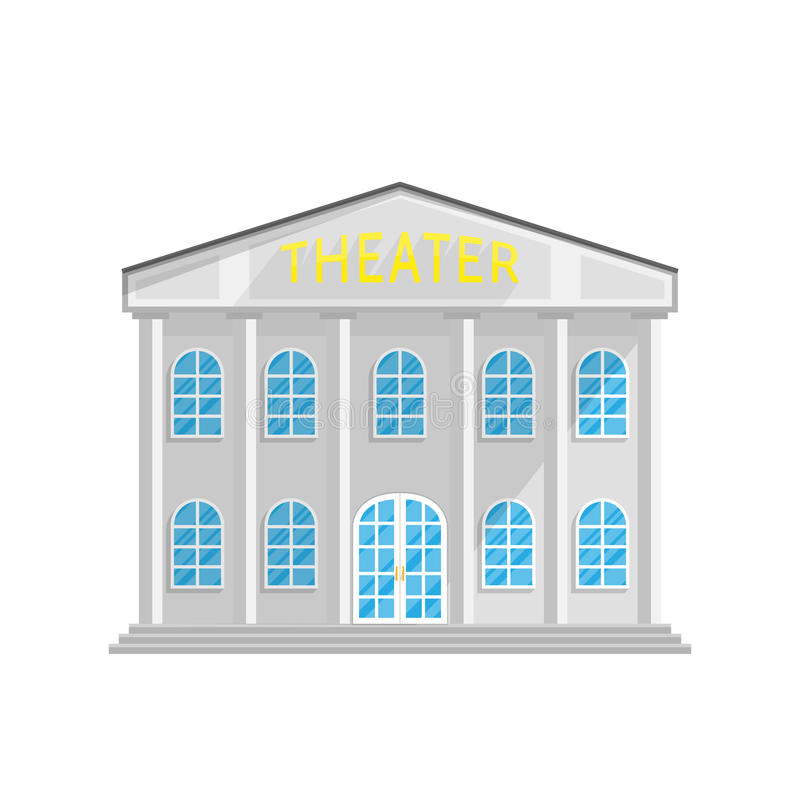 Construção do estilo do teatro no plano isolado no fundo branco ilustração royalty free