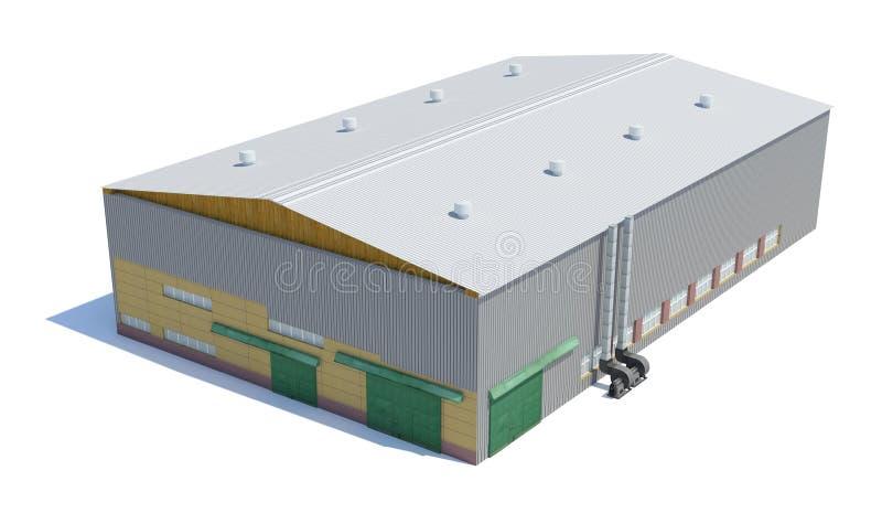 Construção do hangar Isolado no branco imagens de stock royalty free