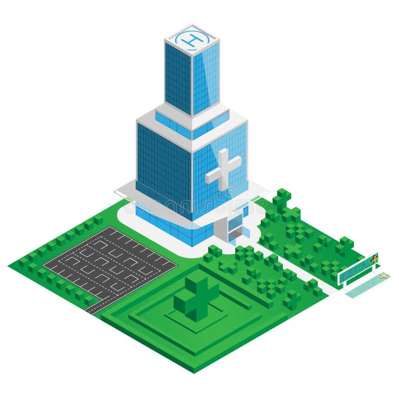Construção do hospital da cidade izometry com parque e estacionamento ao redor ilustração stock