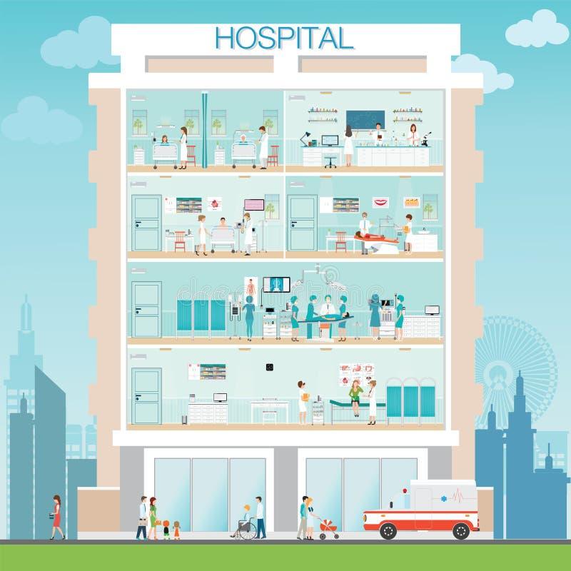 Construção do hospital exterior com doutor e paciente ilustração royalty free