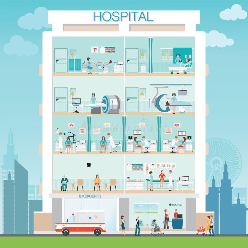 Construção do hospital exterior com doutor e verificação médica paciente ilustração stock