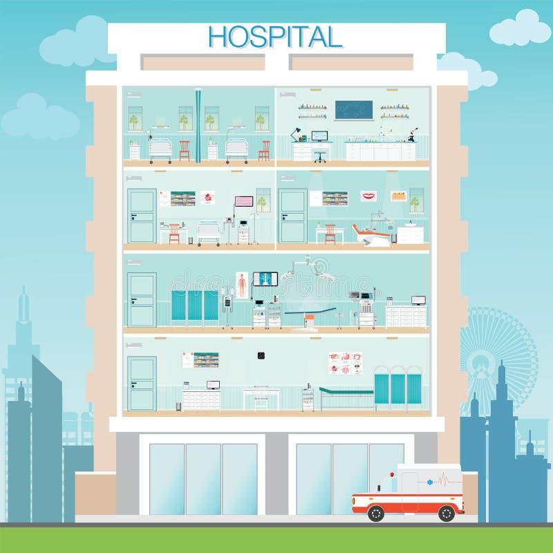 Construção do hospital exterior com o operati médico da cirurgia do hospital ilustração stock
