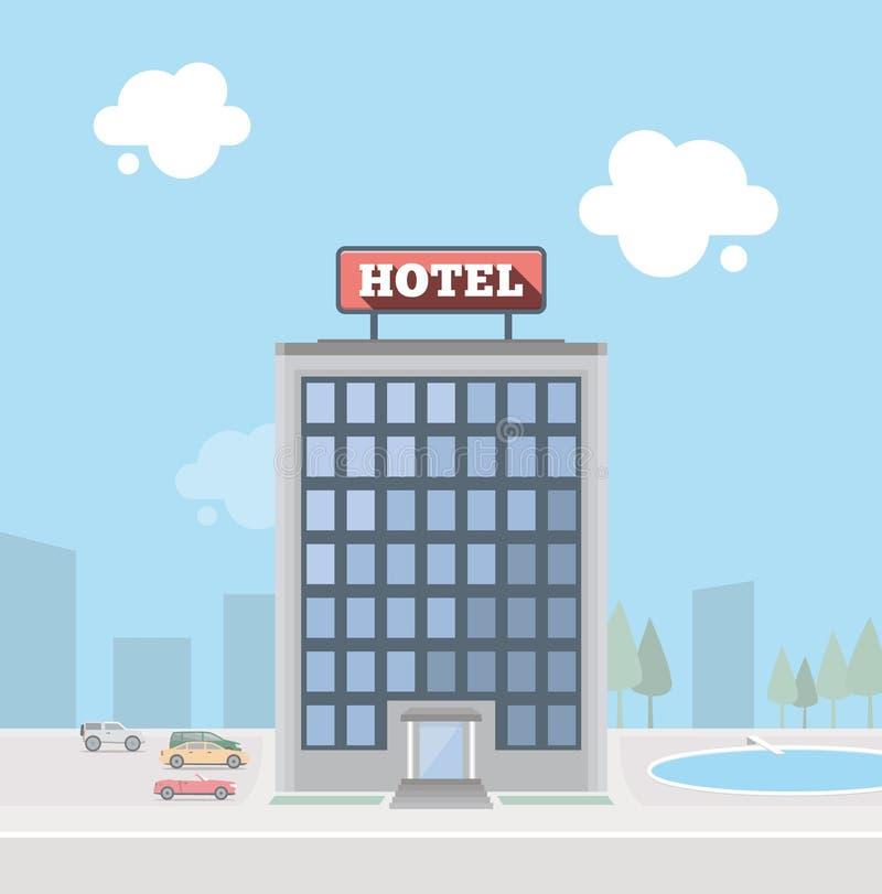 Construção do hotel ilustração royalty free