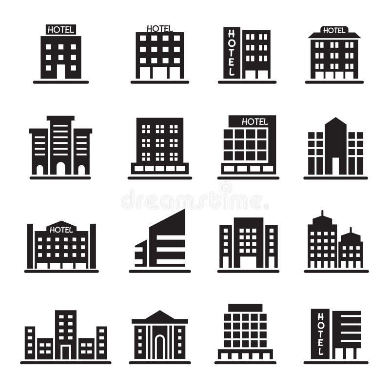 A construção do hotel, torre do escritório, ícones da construção ajustou a ilustração ilustração do vetor