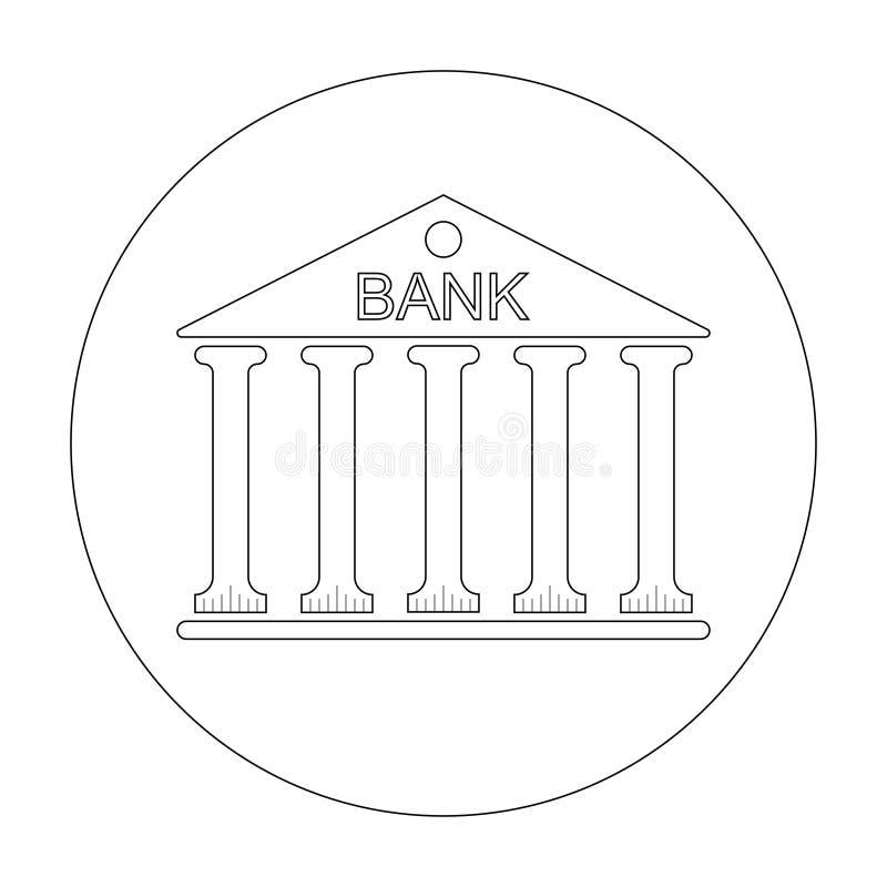 Construção do logotipo ou tribunal com colunas e o banco da inscrição na ilustração do vetor do telhado isolada no fundo branco ilustração royalty free
