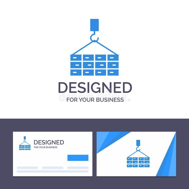 Construção do molde criativo do cartão e do logotipo, carga, construção, Crane Vetora Illustration ilustração do vetor