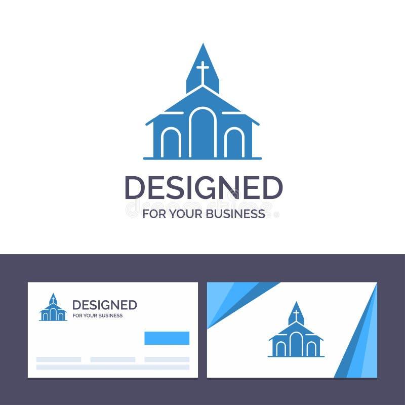 Construção do molde criativo do cartão e do logotipo, Natal, igreja, ilustração do vetor da mola ilustração do vetor