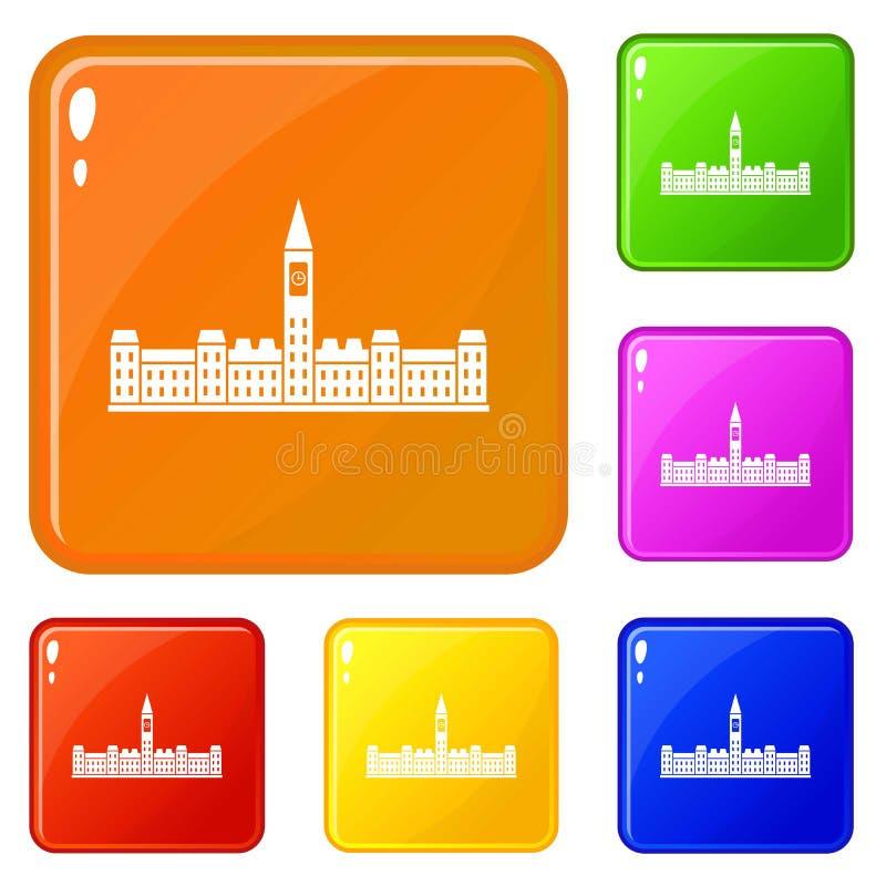 A construção do parlamento de ícones de Canadá ajustou a cor do vetor ilustração do vetor