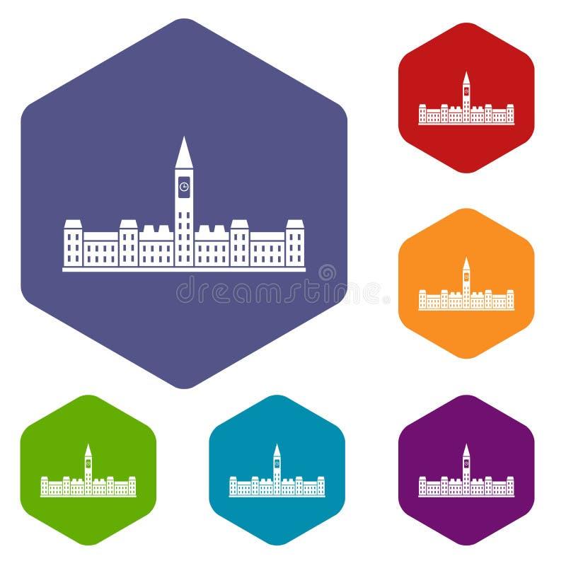 A construção do parlamento de ícones de Canadá ajustou o hexágono ilustração stock