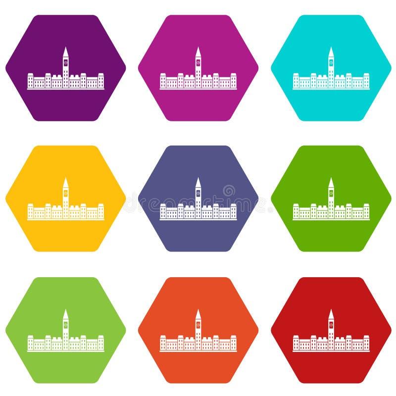 Construção do parlamento de hexahedron ajustado da cor do ícone de Canadá ilustração stock