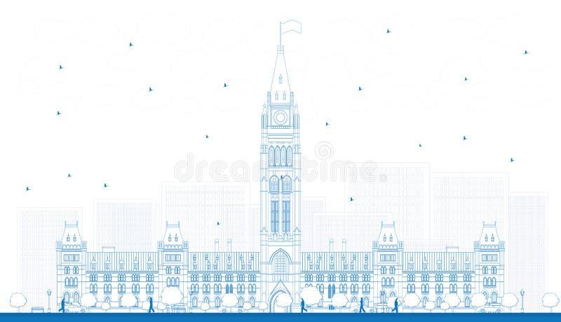 Construção do parlamento do esboço em Ottawa, Canadá ilustração royalty free